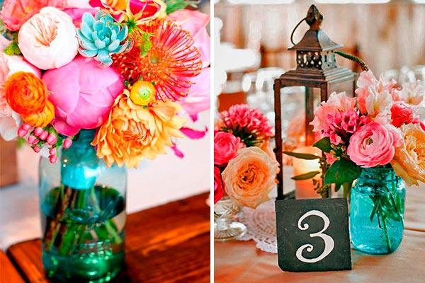 Centros de mesa con mason jars Floridos mason jars para decorar la mesa