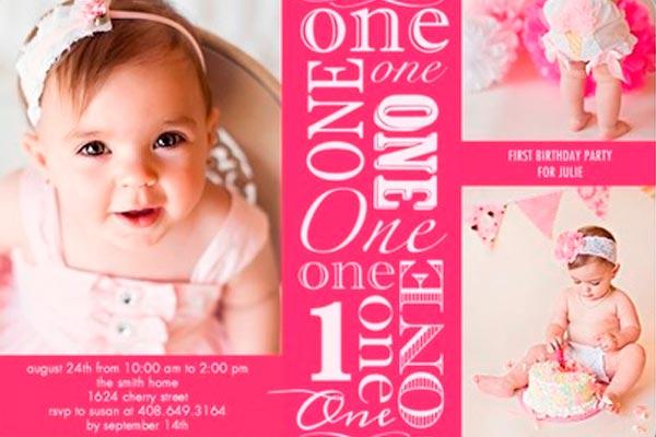 Tarjetas Para El 1er Año De La Bebé Invitaciones Para El