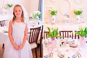 Elegante primera comunión para niñas - Tonos lavanda para una primera comunión refinada