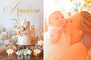 Colores oro y blanco para bautizo - Sofisticada fiesta bautismal con detalles brillantes
