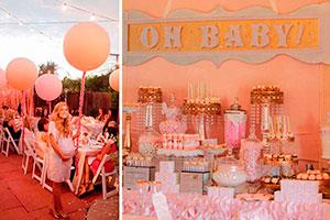 Elegante baby shower de niña - Dorado y rosa para decorar un baby shower