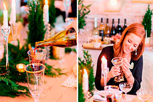 Ideas originales para fiestas de navidad - Brillante fiesta navideña con vinos y bricolaje