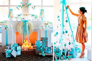 Celebración de navidad en tonos celestes - Una nochebuena celestial en familia