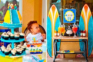 ¿cómo hacer una fiesta de niños al aire libre? - Surfistas extremos en su primer cumpleaños