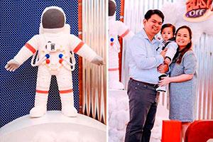 1er año de tu hijo con cohetes y astronautas - ¡Preparados para un cumpleaños sobre la luna!